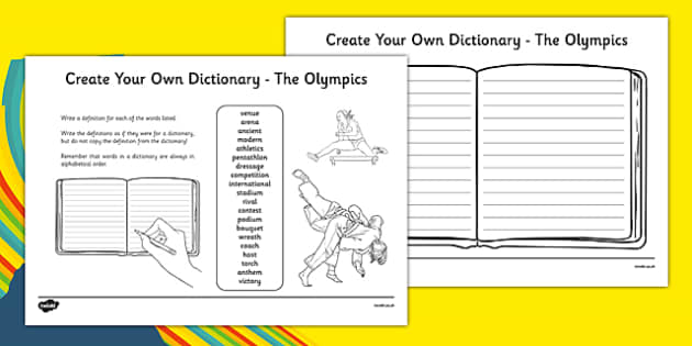 The Olympics Key Vocabulary Create Your Own Dictionary
