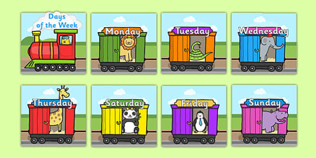Days of the Week on Train - Weeks poster, Weeks display, Train poster, Days of the week