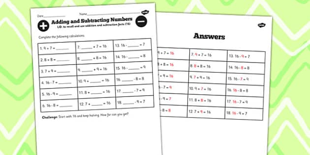 Number Facts to 16 Worksheet - number, facts, 16, worksheet, math