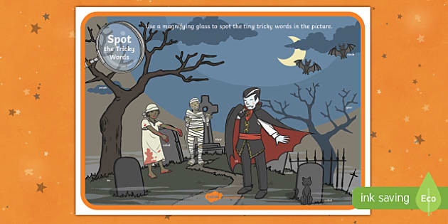 phase 5 tricky words halloween scene magnifying glass Activity