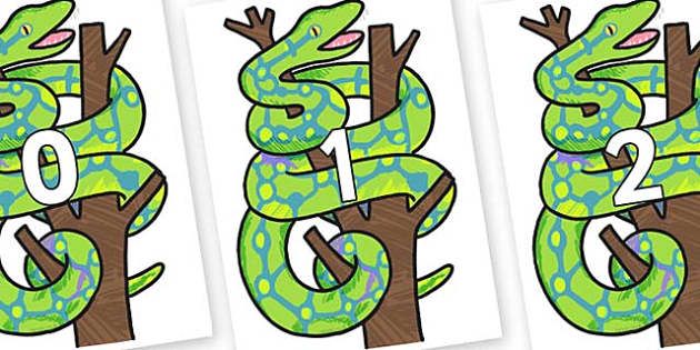 Numbers 0-50 on Boa Constrictor to Support Teaching on The Bad Tempered Ladybird - 0-50, foundation stage numeracy, Number recognition, Number flashcards, counting, number frieze, Display numbers, number posters