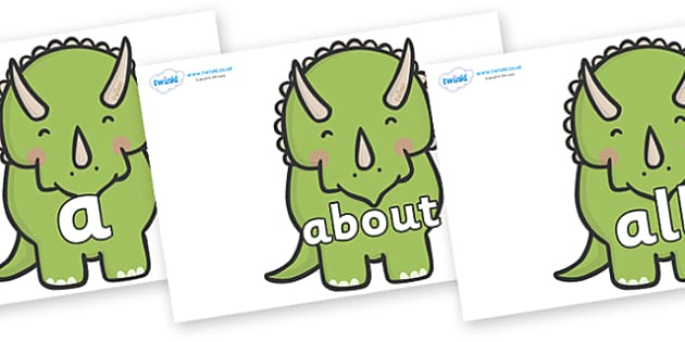 100 High Frequency Words on Triceratops Dinosaurs - High frequency words, hfw, DfES Letters and Sounds, Letters and Sounds, display words