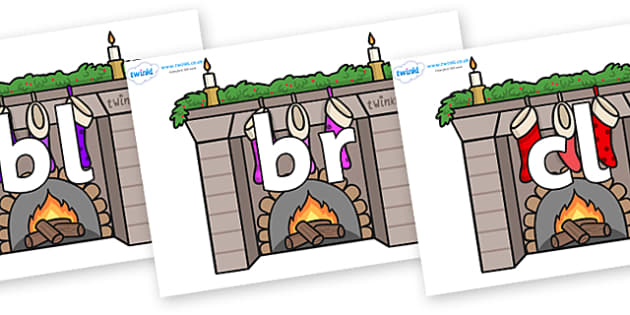 Initial Letter Blends on Fireplaces - Initial Letters, initial letter, letter blend, letter blends, consonant, consonants, digraph, trigraph, literacy, alphabet, letters, foundation stage literacy