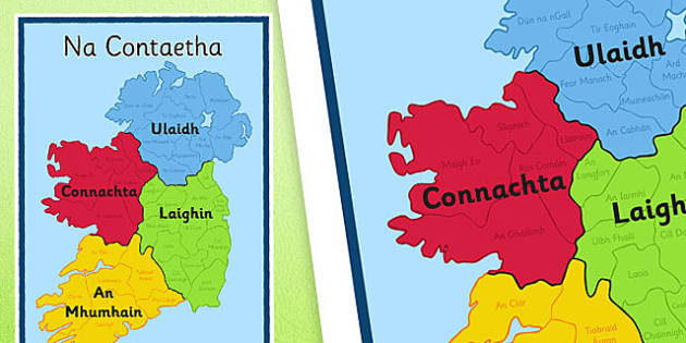 Irish Counties of Ireland Display Poster Gaeilge - Irish , Gaeilge , Counties , Ireland , Geography , Poster
