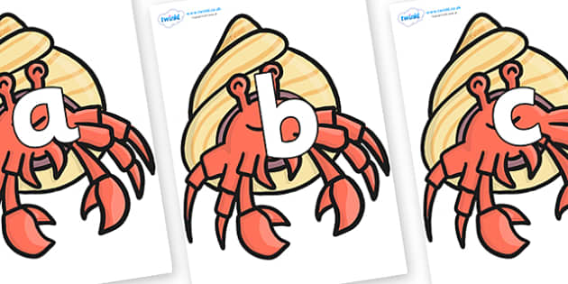 Phoneme Set on Hermit Crabs - Phoneme set, phonemes, phoneme, Letters and Sounds, DfES, display, Phase 1, Phase 2, Phase 3, Phase 5, Foundation, Literacy