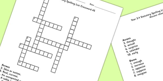 Year 3-4 Statutory Spelling List Crossword 5 - crossword, spell