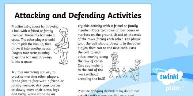 PlanIt - PE Year 1 - Attacking and Defending Home Learning Tasks - Attacking and Defending, team, game, sport, y1, year 1, ks1, pe, physical, education, homework