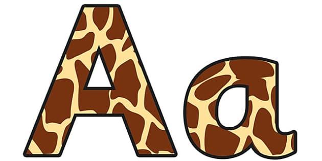 Giraffe Pattern Display Lettering (Small) - safari, safari lettering, safari display lettering, giraffe lettering, giraffe pattern lettering, giraffe