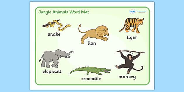 Jungle Animal Themed Word Mat - walking through the jungle, animals, story, book, word mat, writing aid, mat, jungle, animal, lion, tiger, elephant, snake monkey, crocodile