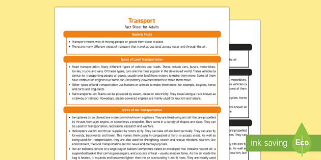 Transport Fact Sheet for Adults - EYFS, Early Years, KS1, travel, vehicles, car, aeroplane, bus, train