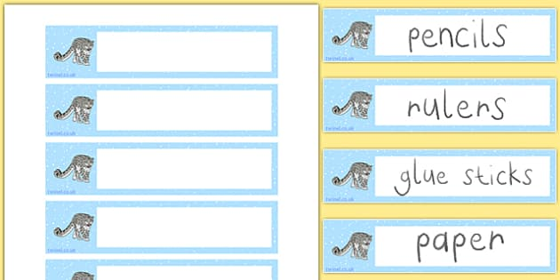 Snow Leopard Tray Labels - snow leopard, tray labels, tray, labels, drawers, display