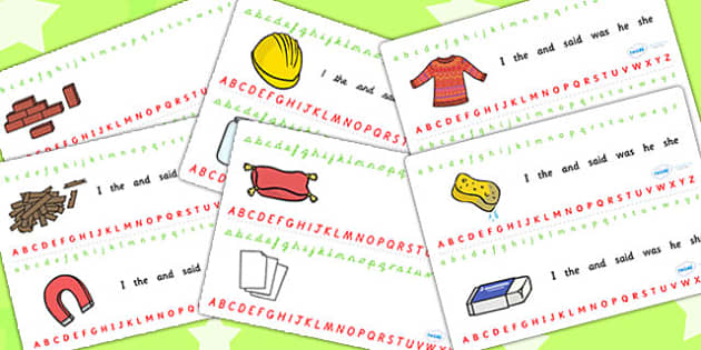 Materials Alphabet Strips - materials, alphabet, a-z, visual aid