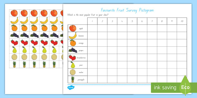Favourite Fruit Pictogram - healthy eating, food, data handling