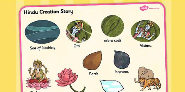 Hindu Creation Story Word Mat - hinduism, visual aid, keywords