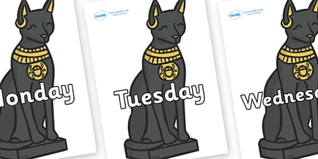 Days of the Week on Egyptian Cats - Days of the Week, Weeks poster, week, display, poster, frieze, Days, Day, Monday, Tuesday, Wednesday, Thursday, Friday, Saturday, Sunday