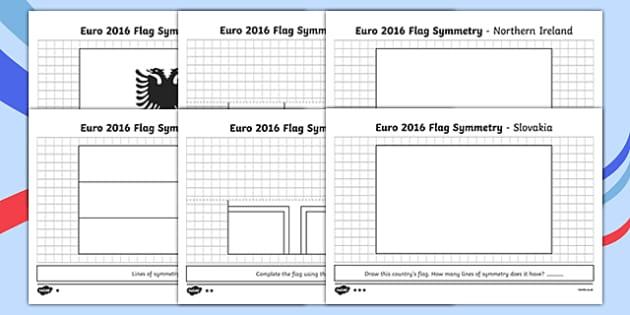 Euro 2016 Flag Symmetry Activity Sheet Pack - euro 2016, flag, symmetry, activity, football, worksheet