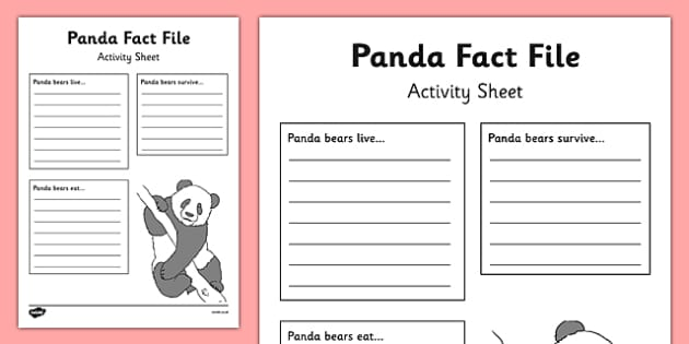 Panda Fact File Activity Sheet - panda, fact file, activity, sheet, factfile, information gathering, worksheet