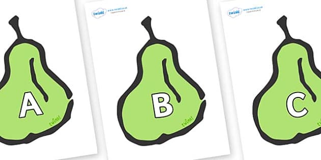 A-Z Alphabet on Pears - A-Z, A4, display, Alphabet frieze, Display letters, Letter posters, A-Z letters, Alphabet flashcards