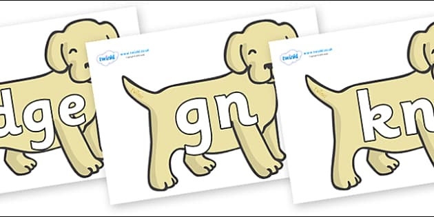 Silent Letters on Puppies - Silent Letters, silent letter, letter blend, consonant, consonants, digraph, trigraph, A-Z letters, literacy, alphabet, letters, alternative sounds