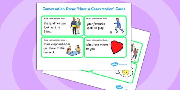 Conversation Game: Have a Conversation Cards Green - conversation game