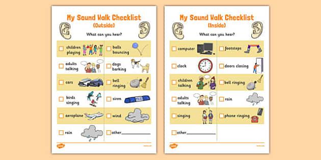My Sound Walk Checklist - sound walk, sound, walk, checklist