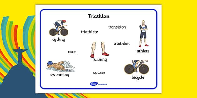 Rio 2016 Olympics Triathlon Word Mat - rio 2016, rio olympics, 2016 olympics, triathlon, word mat