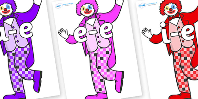 Modifying E Letters on Clowns - Modifying E, letters, modify, Phase 5, Phase five, alternative spellings for phonemes, DfES letters and Sounds
