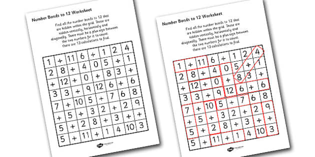 Number Bonds to 12 Wordsearch - number bonds, numeracy, maths