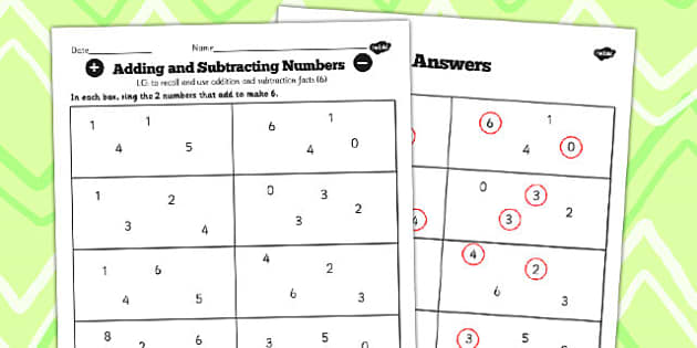 Number Facts to 20 Find Pairs to 6 Worksheet - number, facts, 6