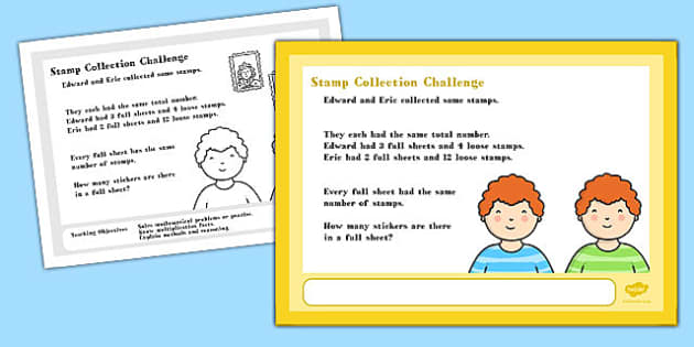 A4 Stamp Collection Maths Challenge Poster - stamp collection, maths, challenge