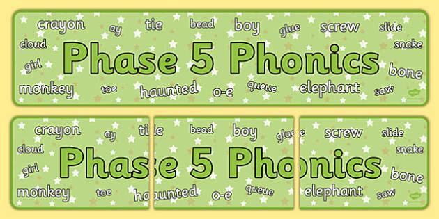 Phase 5 Phonics Display Banner - phase 5, phonics, display banner, display, banner
