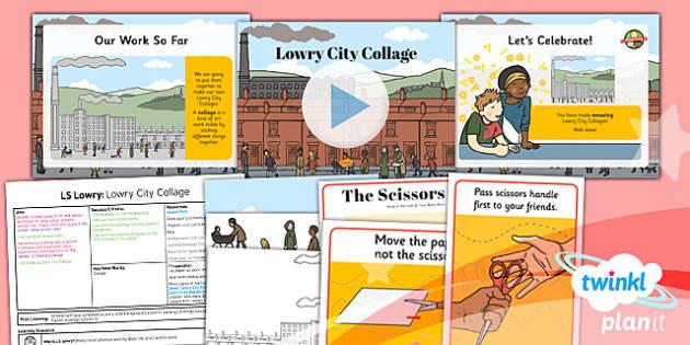 PlanIt - Art KS1 - LS Lowry Lesson 6: Lowry City Collage Lesson Pack