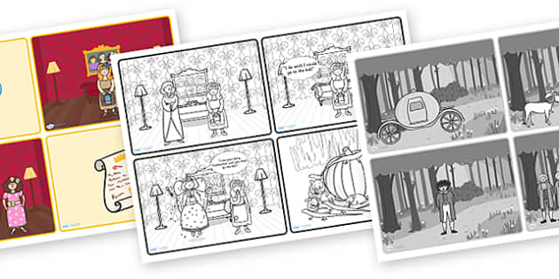 Cinderella Story Sequencing on Speech Bubbles (4 per A4) - Cinderella, slipper, Traditional tales, tale, fairy tale, Pince Charming, Ugly Sisters, Step Godmother, Dress, Midnight, Carriage, mice, pumpkin