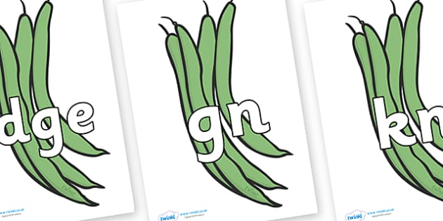 Silent Letters on Green Beans - Silent Letters, silent letter, letter blend, consonant, consonants, digraph, trigraph, A-Z letters, literacy, alphabet, letters, alternative sounds