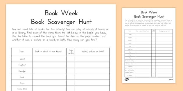 Book Week Scavenger Hunt-Australia