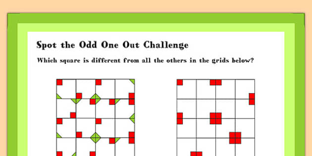 A4 KS1 Spot the Odd One Out Challenge Maths Challenge Poster