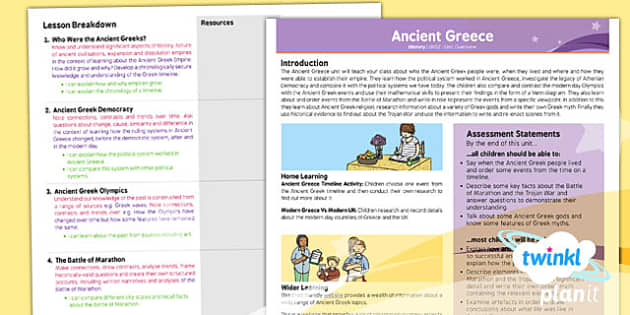 PlanIt - History UKS2 - Ancient Greece Planning Overview - plan