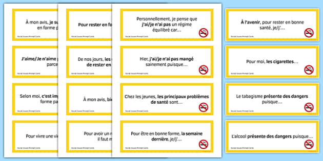 General Conversation Question Prompt Cards Social Issues - french, Conversation, Speaking, Questions, Social, Issues, Problèmes, Sociaux, Health, Santé, Healthy Living, Charity, Voluntary Work, Bénévole Organisation, Caritative, Smoking, Alcohol, Dru