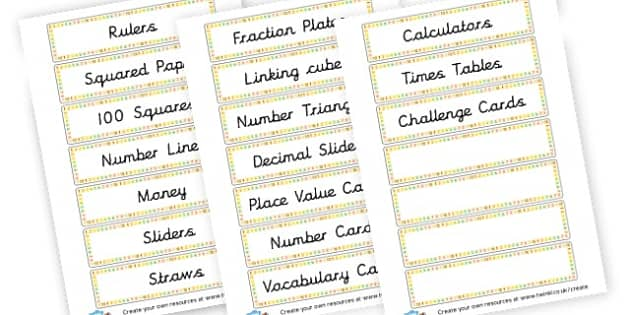 Maths Resources Tray Labels - Drawer & Peg Name Labels Primary Resources, Name Label, Label, Peg