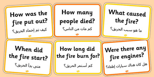 The Great Fire of London Question Cards Arabic Translation - arabic