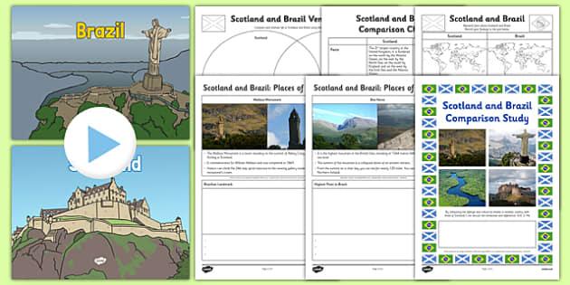 Scotland and Brazil Comparison Pack - Comparison study, Brazil, Scotland, Olympics, research, SOC 2-19a