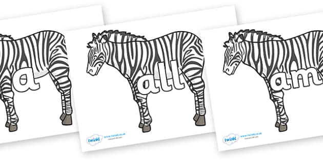Foundation Stage 2 Keywords on Zebras - FS2, CLL, keywords, Communication language and literacy,  Display, Key words, high frequency words, foundation stage literacy, DfES Letters and Sounds, Letters and Sounds, spelling