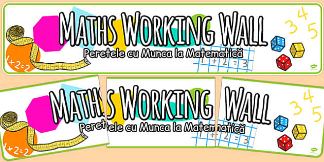 Maths Working Wall Display Banner Romanian Translation - maths, display, banner, header, numeracy, KS1, KS2
