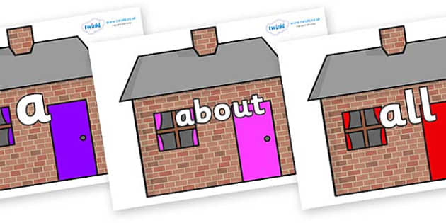 100 High Frequency Words on Brick houses - High frequency words, hfw, DfES Letters and Sounds, Letters and Sounds, display words