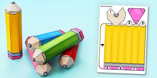 3D Pencil Display Paper Model - display, paper, model, pencil, 3d