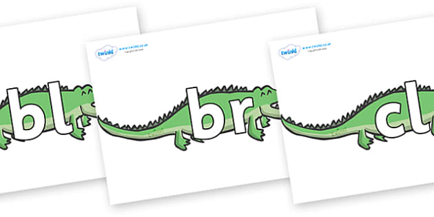 Initial Letter Blends on Crocodiles - Initial Letters, initial letter, letter blend, letter blends, consonant, consonants, digraph, trigraph, literacy, alphabet, letters, foundation stage literacy