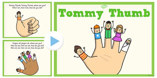 Tommy Thumb PowerPoint - tommy thumb, powerpoint, nursery rhyme