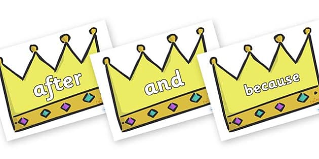 Connectives on Crowns (Plain) - Connectives, VCOP, connective resources, connectives display words, connective displays