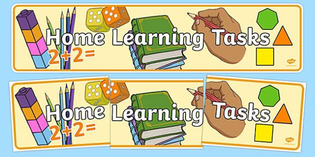 Home Learning Tasks Display Banner - home learning tasks, display banner, display, banner