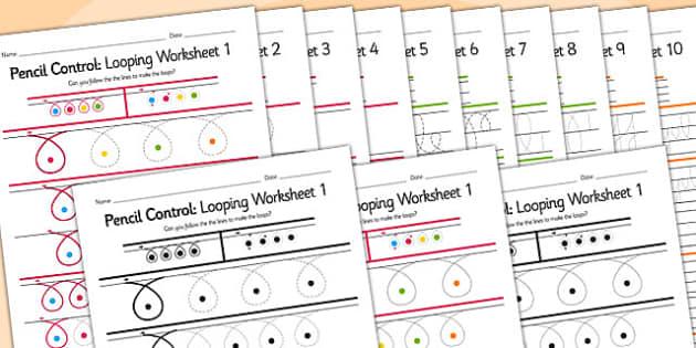 Pencil Control Looping Workbook - pencil control, motor skills